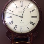 Mahogany single fussee wall clock